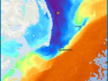 AVHRR SST shot showing temperature breaks off Cape Hatteras.