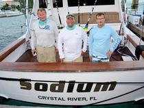 L to R: Capt. Randy Jendersee, Chad Damron, Steve McFarland, aboard Sodium. Credit: Dean Barnes