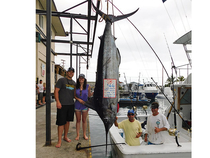 Nick Forshee and Rachel Jolivich fished an afternoon charter on Hooked Up with Capt. Steve Sahines and crew Kerry Hill.  Their 566-pound blue was the third billfish of the trip.  If someone asks if the afternoon bite  is ever good, tell them this story.